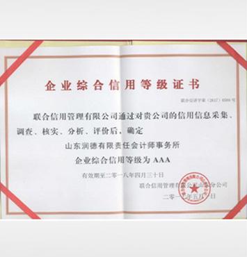 yabox4综合信用等级证书